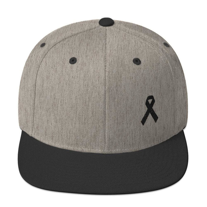 Melanoma and Skin Cancer Awareness Flat Brim Snapback Hat with Black Ribbon - One-size / Heather/Black - Hats