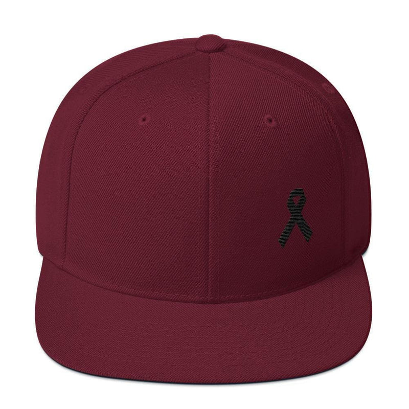 Melanoma and Skin Cancer Awareness Flat Brim Snapback Hat with Black Ribbon - One-size / Maroon - Hats