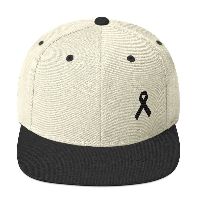 Melanoma and Skin Cancer Awareness Flat Brim Snapback Hat with Black Ribbon - One-size / Natural/ Black - Hats