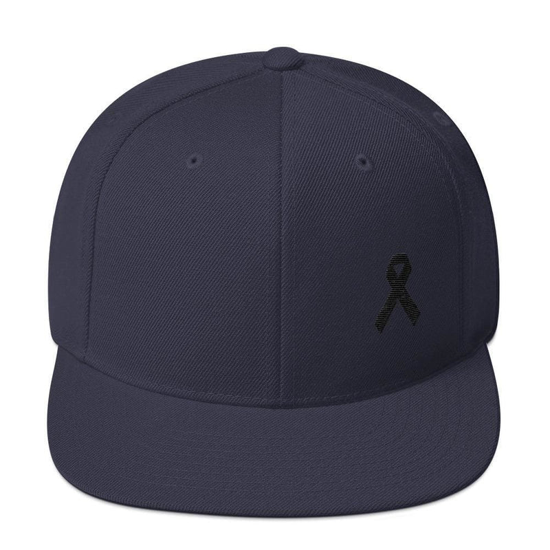 Melanoma and Skin Cancer Awareness Flat Brim Snapback Hat with Black Ribbon - One-size / Navy - Hats