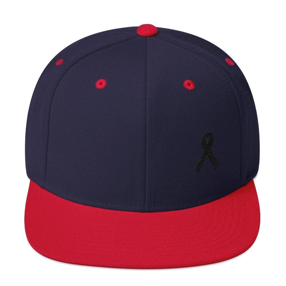 Melanoma and Skin Cancer Awareness Flat Brim Snapback Hat with Black Ribbon - One-size / Navy/ Red - Hats