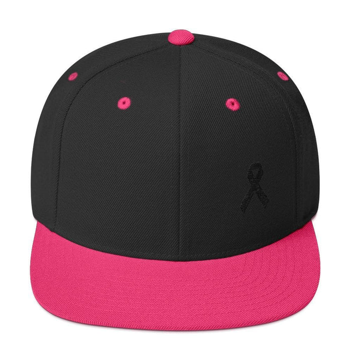 Melanoma and Skin Cancer Awareness Flat Brim Snapback Hat with Black Ribbon - One-size / Black/ Neon Pink - Hats