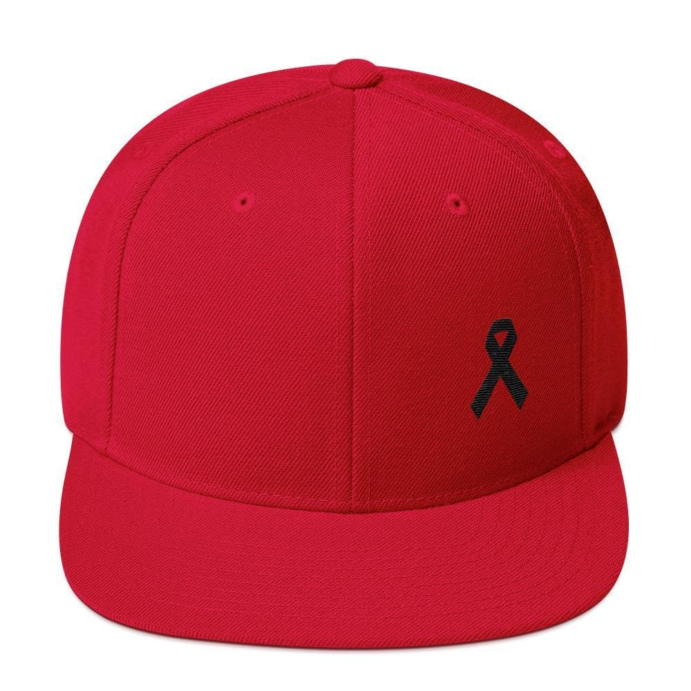Melanoma and Skin Cancer Awareness Flat Brim Snapback Hat with Black Ribbon - One-size / Red - Hats