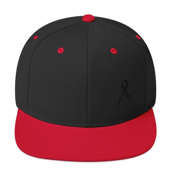 Melanoma and Skin Cancer Awareness Flat Brim Snapback Hat with Black Ribbon - One-size / Black/ Red - Hats