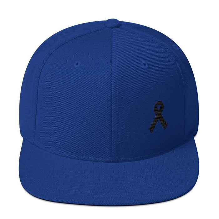 Melanoma and Skin Cancer Awareness Flat Brim Snapback Hat with Black Ribbon - One-size / Royal Blue - Hats