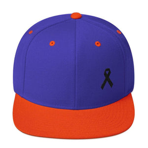 Melanoma and Skin Cancer Awareness Flat Brim Snapback Hat with Black Ribbon - One-size / Royal/ Orange - Hats