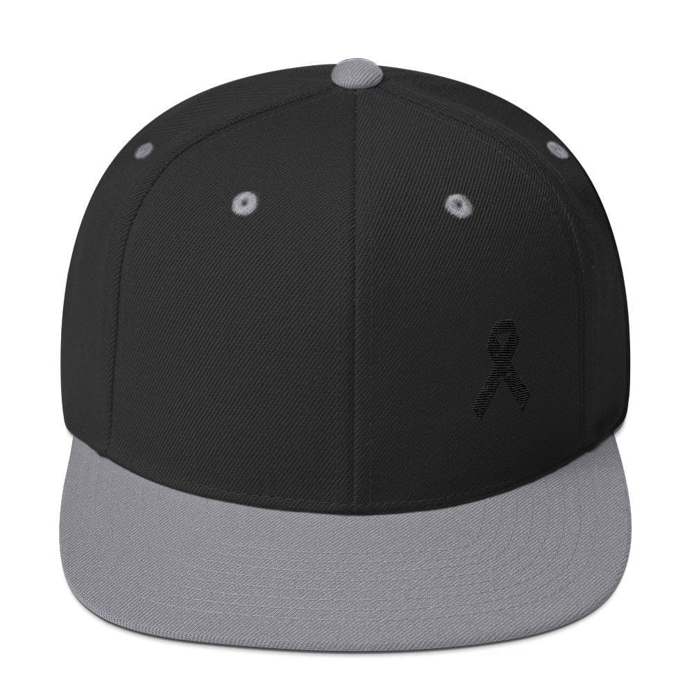 Melanoma and Skin Cancer Awareness Flat Brim Snapback Hat with Black Ribbon - One-size / Black/ Silver - Hats