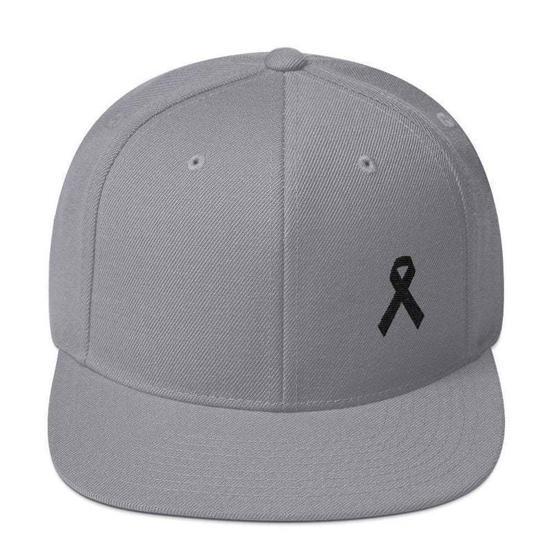 Melanoma and Skin Cancer Awareness Flat Brim Snapback Hat with Black Ribbon - One-size / Silver - Hats