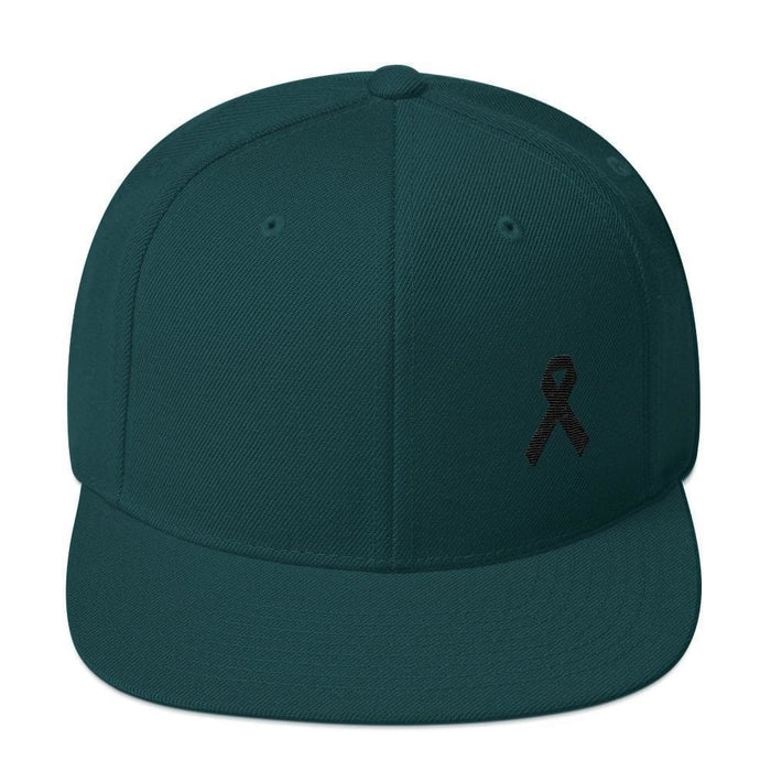 Melanoma and Skin Cancer Awareness Flat Brim Snapback Hat with Black Ribbon - One-size / Spruce - Hats