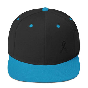 Melanoma and Skin Cancer Awareness Flat Brim Snapback Hat with Black Ribbon - One-size / Black/ Teal - Hats