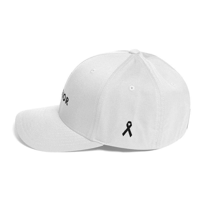 Melanoma And Skin Cancer Awareness Twill Flexfit Fitted Hat - Warrior & Black Ribbon - Hats