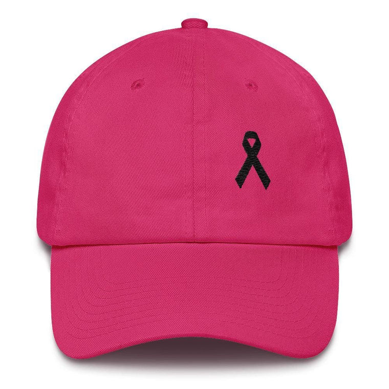 Melanoma & Skin Cancer Awareness Dad Hat with Black Ribbon