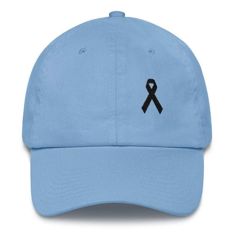 Melanoma & Skin Cancer Awareness Dad Hat with Black Ribbon - One-size / Carolina Blue - Hats