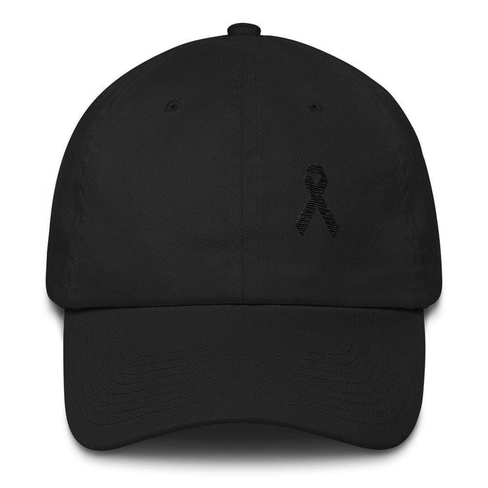 Melanoma & Skin Cancer Awareness Dad Hat with Black Ribbon - One-size / Black - Hats