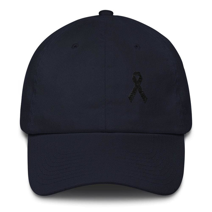 Melanoma & Skin Cancer Awareness Dad Hat with Black Ribbon - One-size / Navy - Hats
