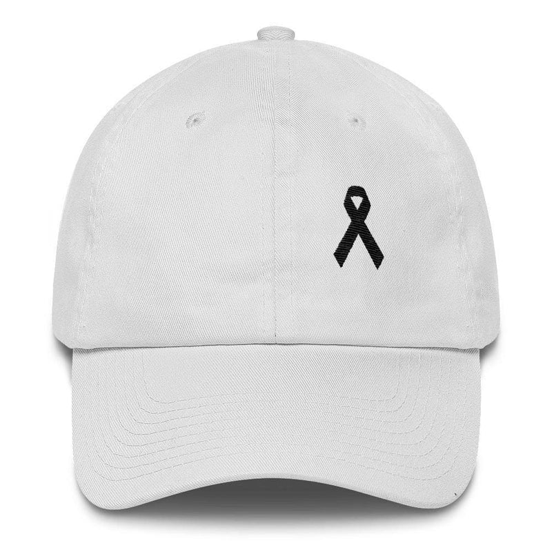 Melanoma & Skin Cancer Awareness Dad Hat with Black Ribbon - One-size / White - Hats