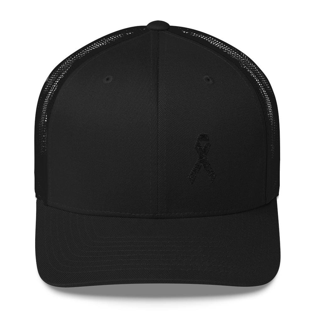 Load image into Gallery viewer, Melanoma & Skin Cancer Awareness Snapback Trucker Hat with Black Ribbon - One-size / Black - Hats