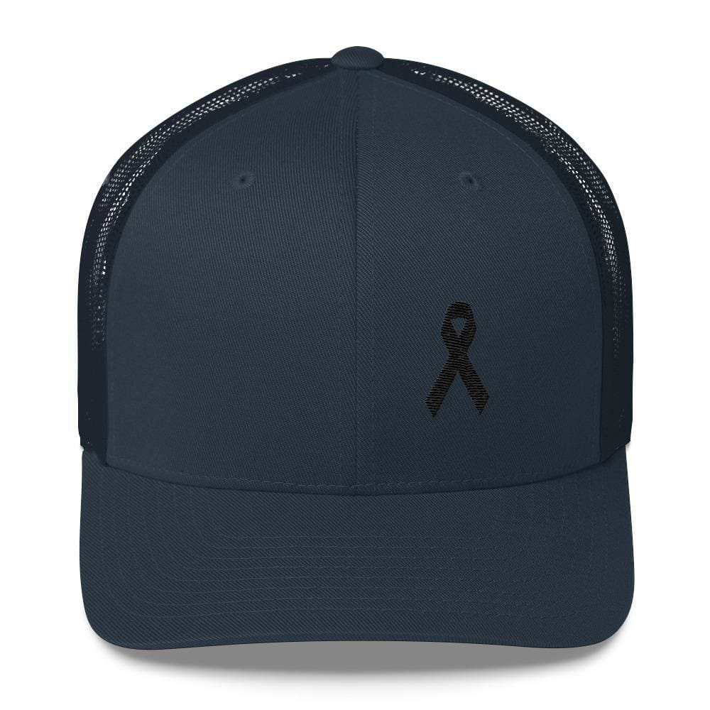 Load image into Gallery viewer, Melanoma & Skin Cancer Awareness Snapback Trucker Hat with Black Ribbon - One-size / Navy - Hats