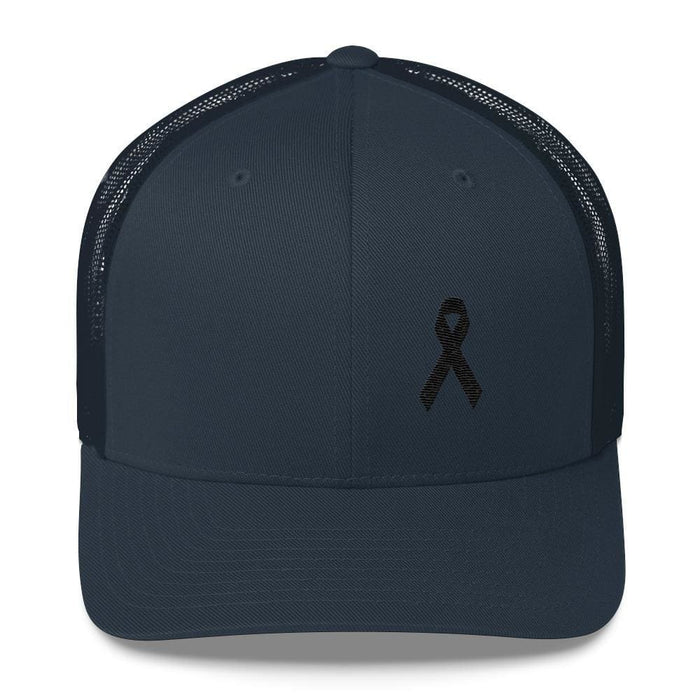 Melanoma & Skin Cancer Awareness Snapback Trucker Hat with Black Ribbon - One-size / Navy - Hats