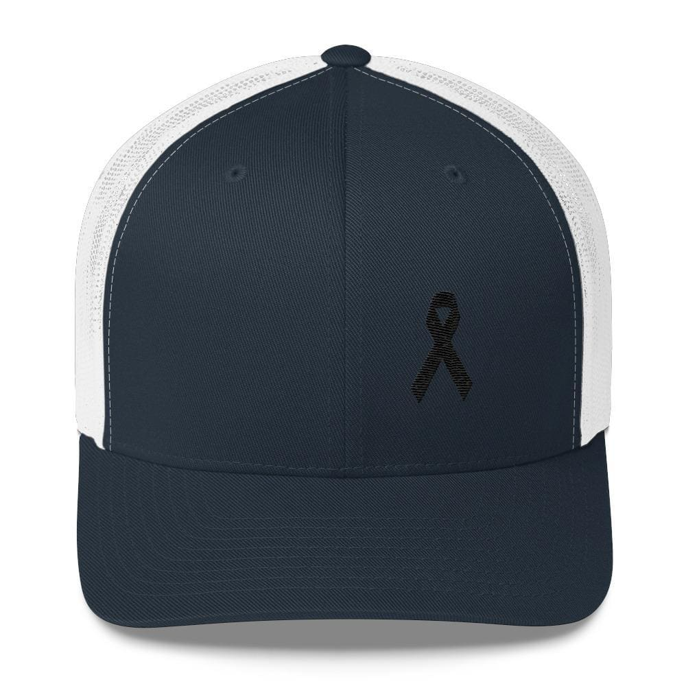 Load image into Gallery viewer, Melanoma & Skin Cancer Awareness Snapback Trucker Hat with Black Ribbon - One-size / Navy/ White - Hats