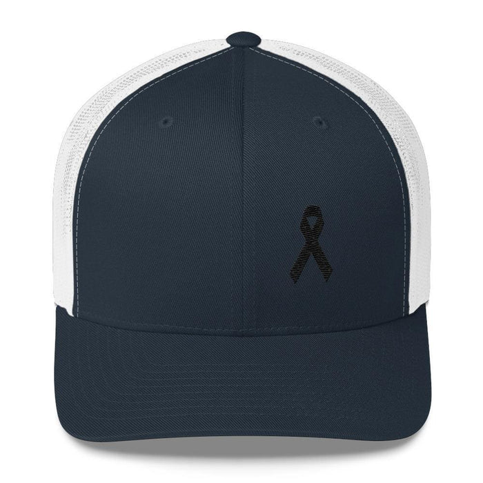 Melanoma & Skin Cancer Awareness Snapback Trucker Hat with Black Ribbon - One-size / Navy/ White - Hats