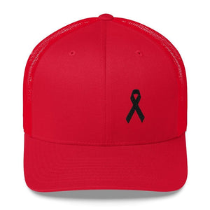 Load image into Gallery viewer, Melanoma & Skin Cancer Awareness Snapback Trucker Hat with Black Ribbon - One-size / Red - Hats