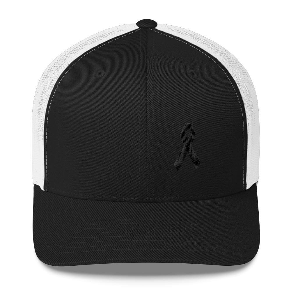 Load image into Gallery viewer, Melanoma & Skin Cancer Awareness Snapback Trucker Hat with Black Ribbon - One-size / Black/ White - Hats