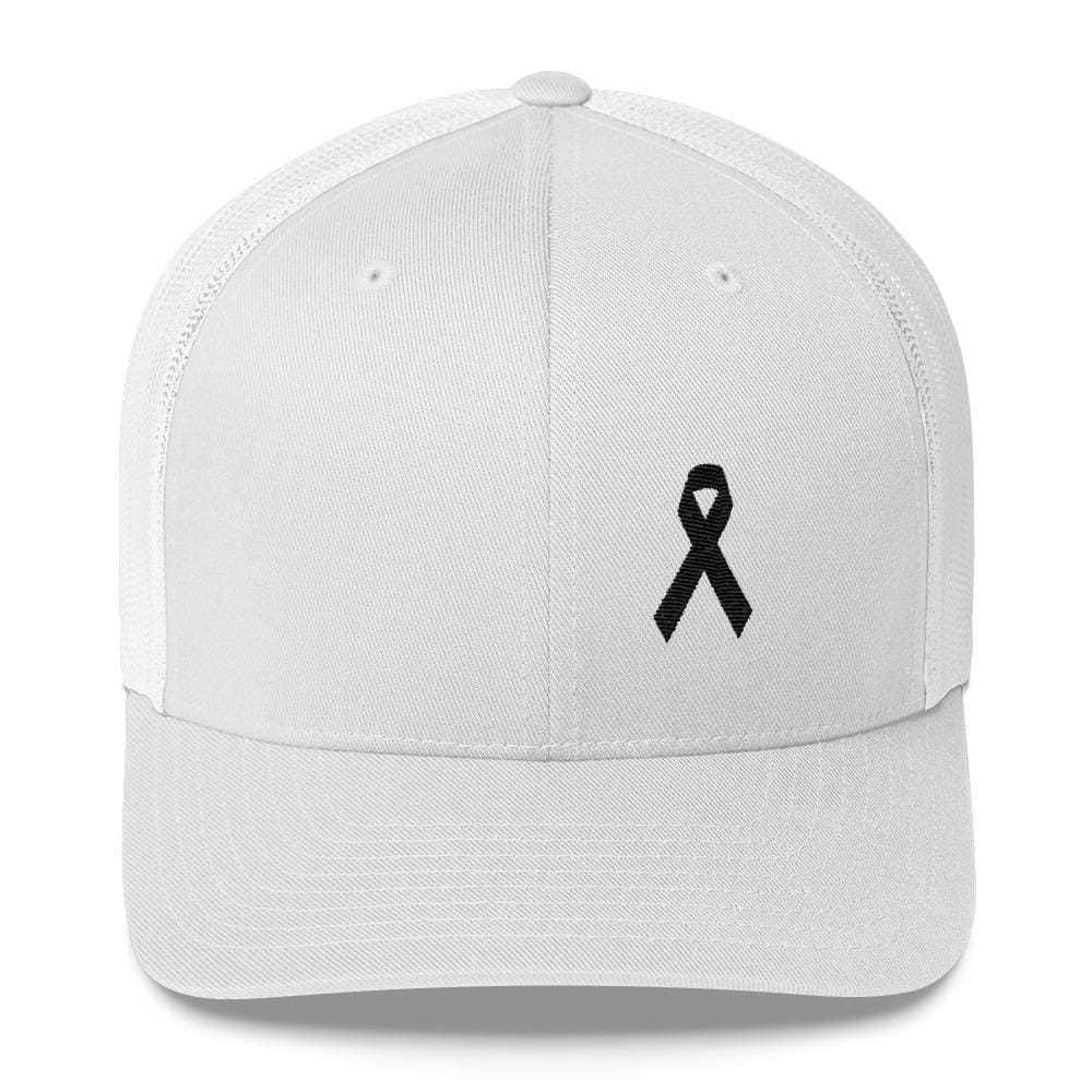 Load image into Gallery viewer, Melanoma & Skin Cancer Awareness Snapback Trucker Hat with Black Ribbon - One-size / White - Hats