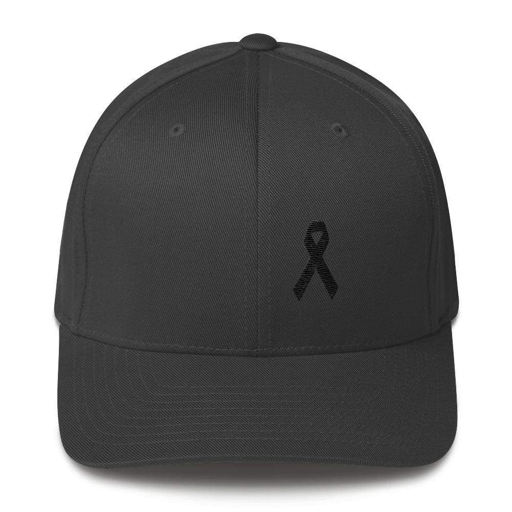 Melanoma & Skin Cancer Awareness Twill Flexfit Fitted Hat With Black Ribbon - S/m / Dark Grey - Hats