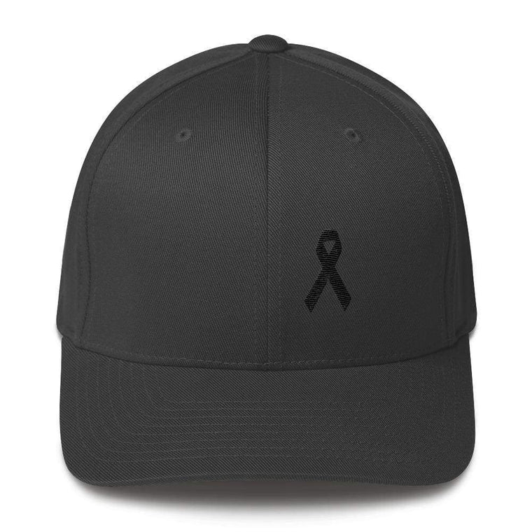 Melanoma & Skin Cancer Awareness Twill Flexfit Fitted Hat with Black Ribbon