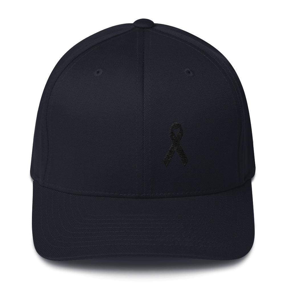 Melanoma & Skin Cancer Awareness Twill Flexfit Fitted Hat With Black Ribbon - S/m / Dark Navy - Hats