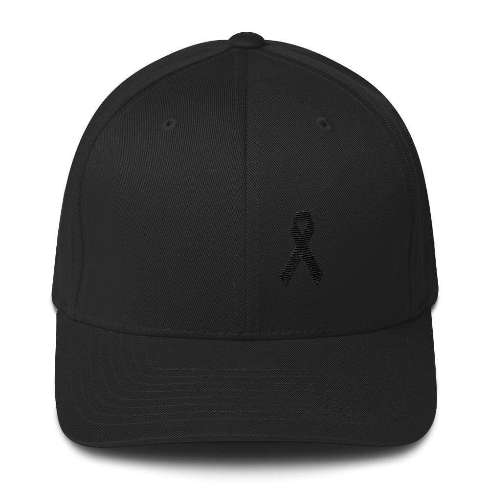 Melanoma & Skin Cancer Awareness Twill Flexfit Fitted Hat With Black Ribbon - S/m / Black - Hats