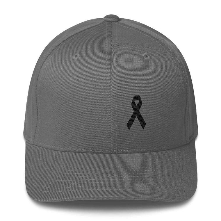 Melanoma   Skin Cancer Awareness Twill Flexfit Fitted Hat with Black Ribbon 461cc92f719