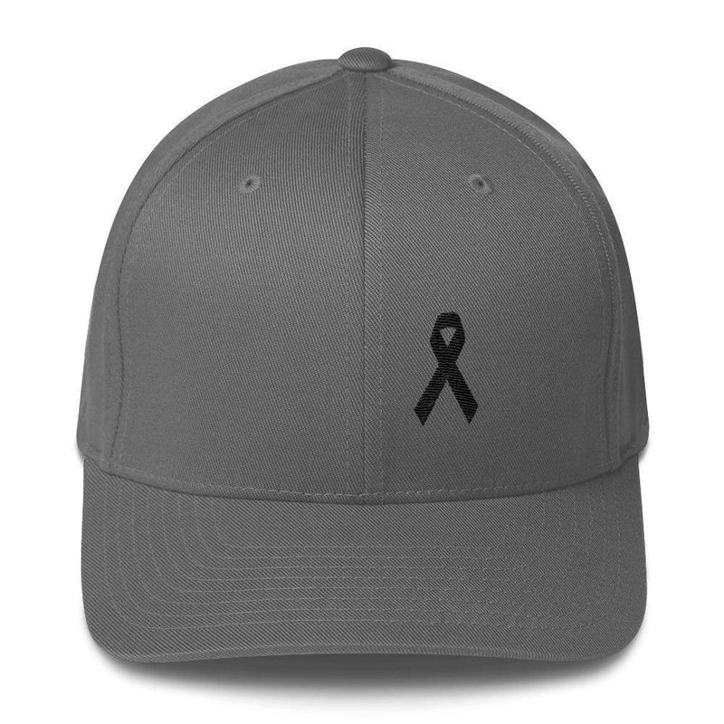 Melanoma & Skin Cancer Awareness Twill Flexfit Fitted Hat With Black Ribbon - S/m / Grey - Hats