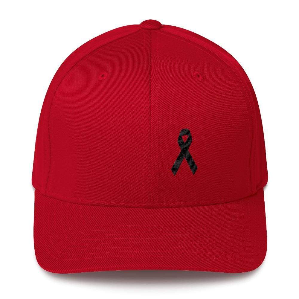 Melanoma & Skin Cancer Awareness Twill Flexfit Fitted Hat With Black Ribbon - S/m / Red - Hats