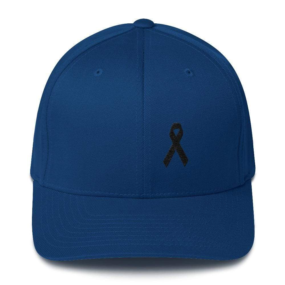 Melanoma & Skin Cancer Awareness Twill Flexfit Fitted Hat With Black Ribbon - S/m / Royal Blue - Hats