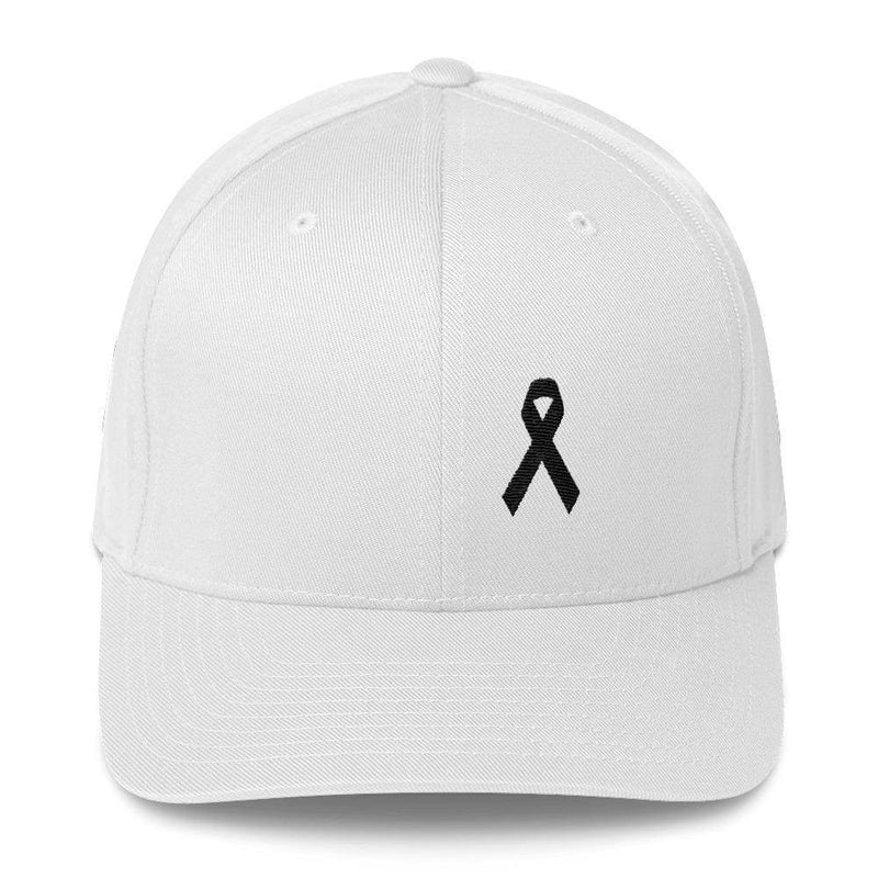 Melanoma & Skin Cancer Awareness Twill Flexfit Fitted Hat With Black Ribbon - S/m / White - Hats