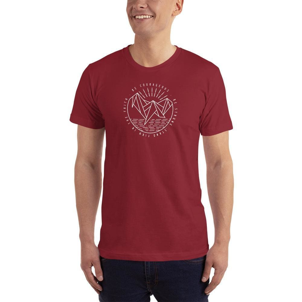 Load image into Gallery viewer, Mens Be Courageous Be Strong Stand Firm in the Faith Christian T-Shirt - S / Cranberry - T-Shirts