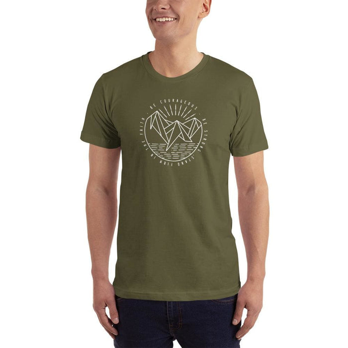 Mens Be Courageous Be Strong Stand Firm in the Faith Christian T-Shirt - XS / Army - T-Shirts