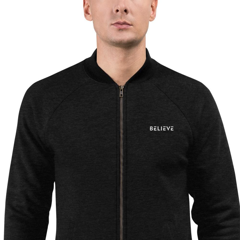 Mens Believe Bomber Jacket - S / Heather Black - Jacket