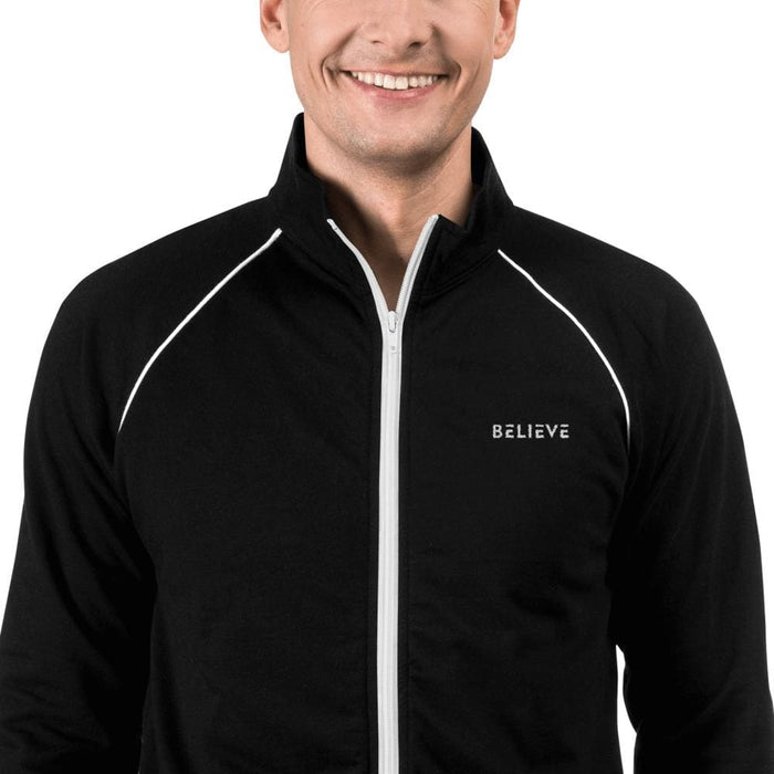 Mens Believe Piped Fleece Jacket - S / Black - Jacket