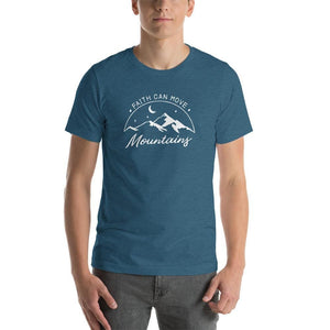 Load image into Gallery viewer, Mens Big & Tall Faith Can Move Mountains Short-Sleeve T-Shirt - L / Heather Deep Teal - T-Shirts
