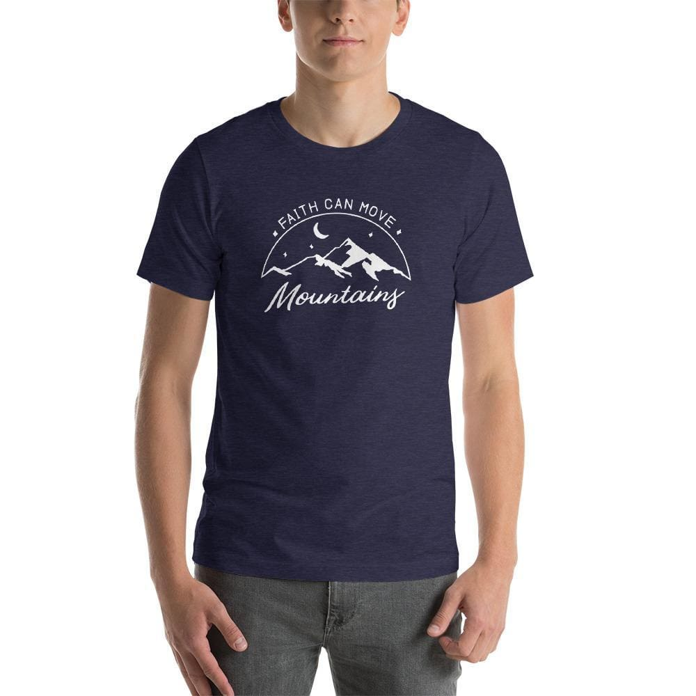 Load image into Gallery viewer, Mens Big & Tall Faith Can Move Mountains Short-Sleeve T-Shirt - L / Heather Midnight Navy - T-Shirts
