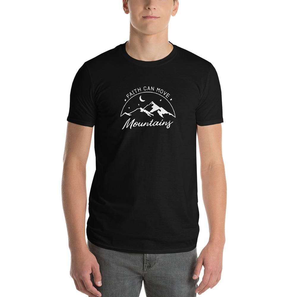 Load image into Gallery viewer, Mens Faith Can Move Mountains T-Shirt - S / Black - T-Shirts