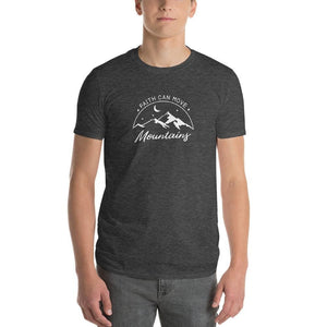 Load image into Gallery viewer, Mens Faith Can Move Mountains T-Shirt - S / Heather Dark Grey - T-Shirts
