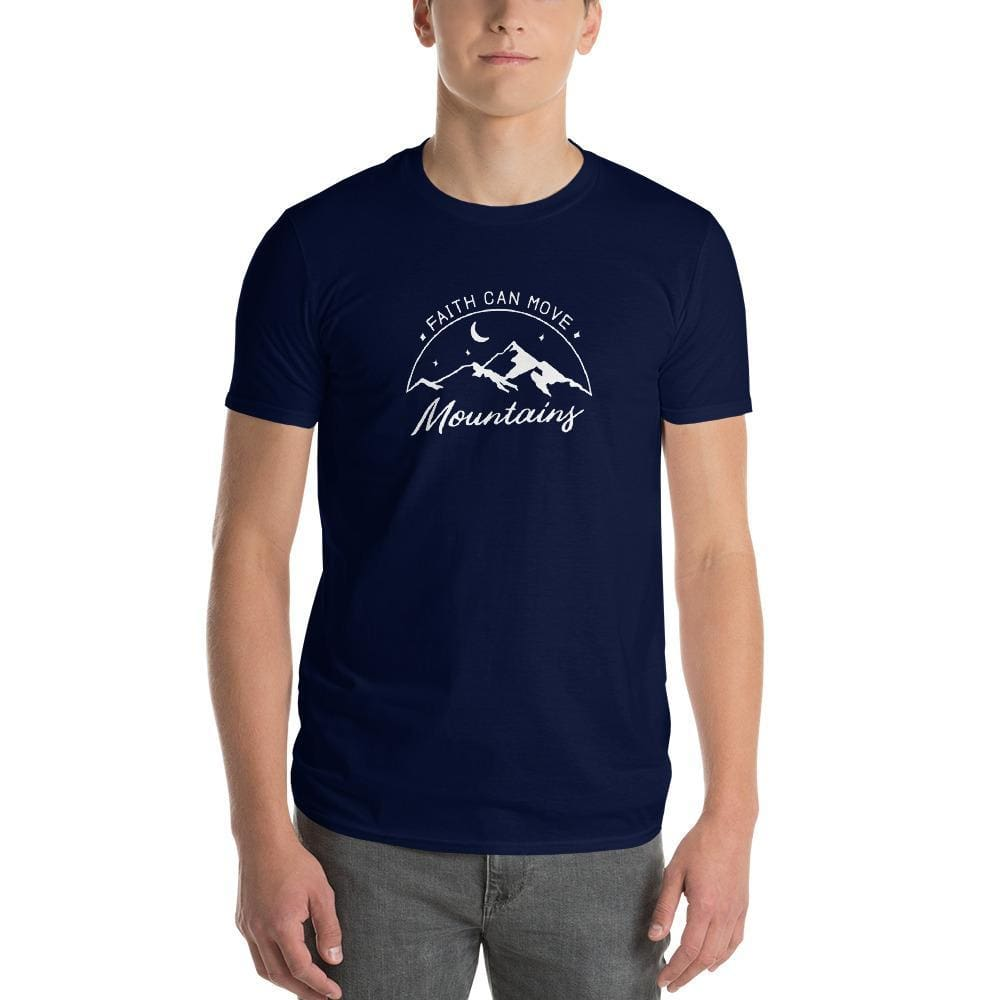 Load image into Gallery viewer, Mens Faith Can Move Mountains T-Shirt - S / Navy - T-Shirts