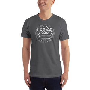 Mens Faith Makes Things Possible Not Easy Christian T-Shirt - S / Asphalt - T-Shirts
