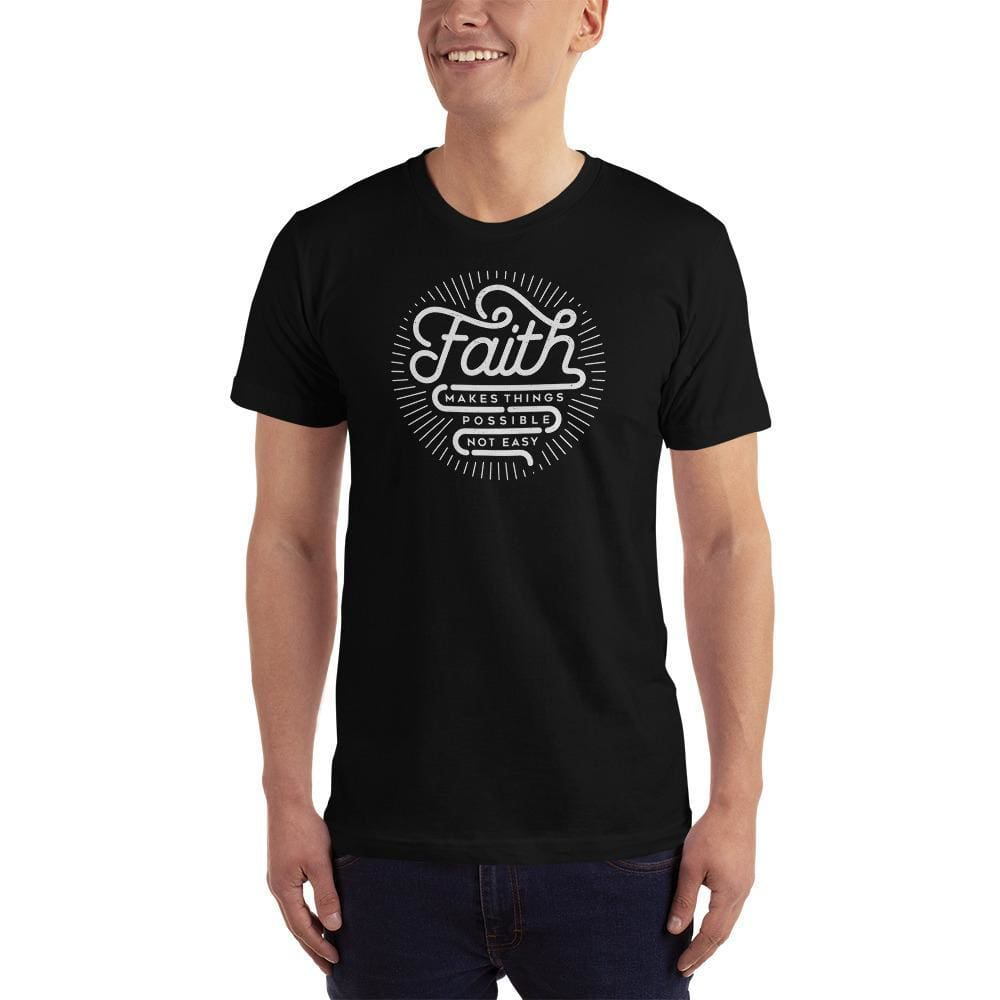 Mens Faith Makes Things Possible Not Easy Christian T-Shirt - S / Black - T-Shirts