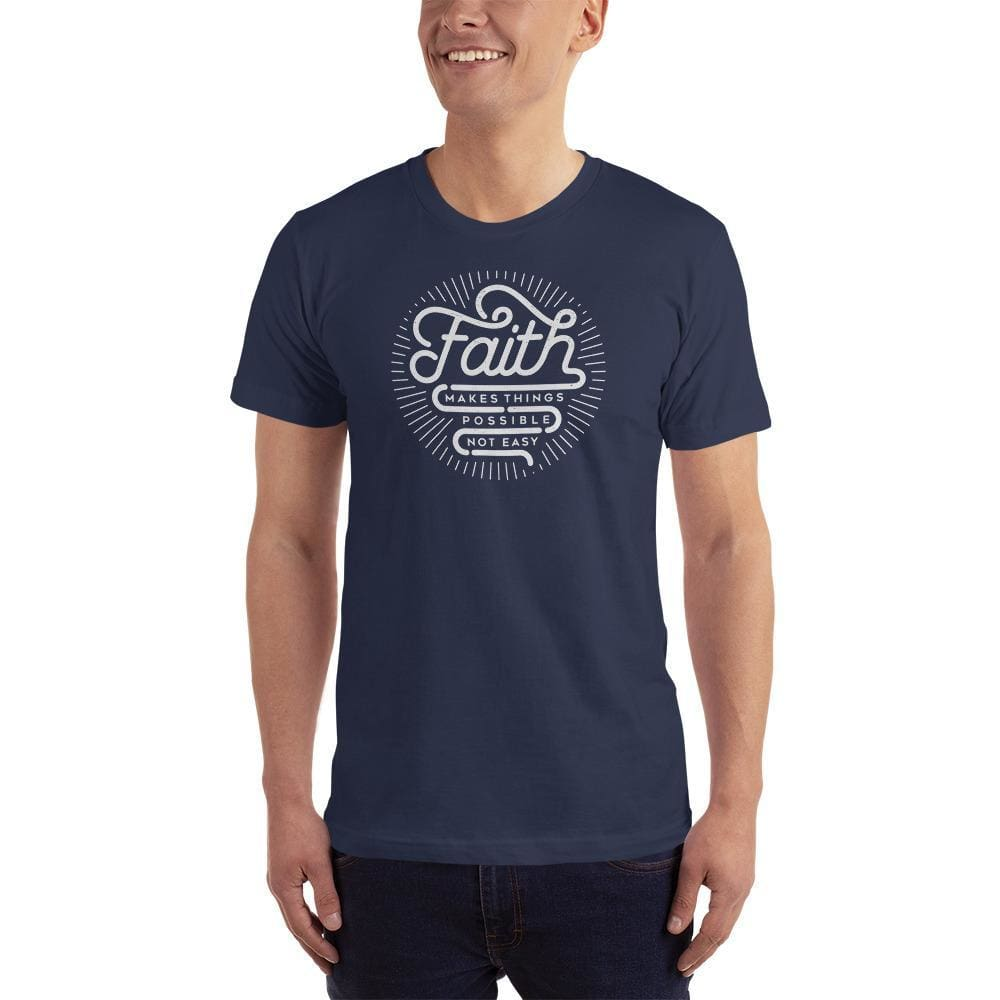 Mens Faith Makes Things Possible Not Easy Christian T-Shirt - S / Navy - T-Shirts