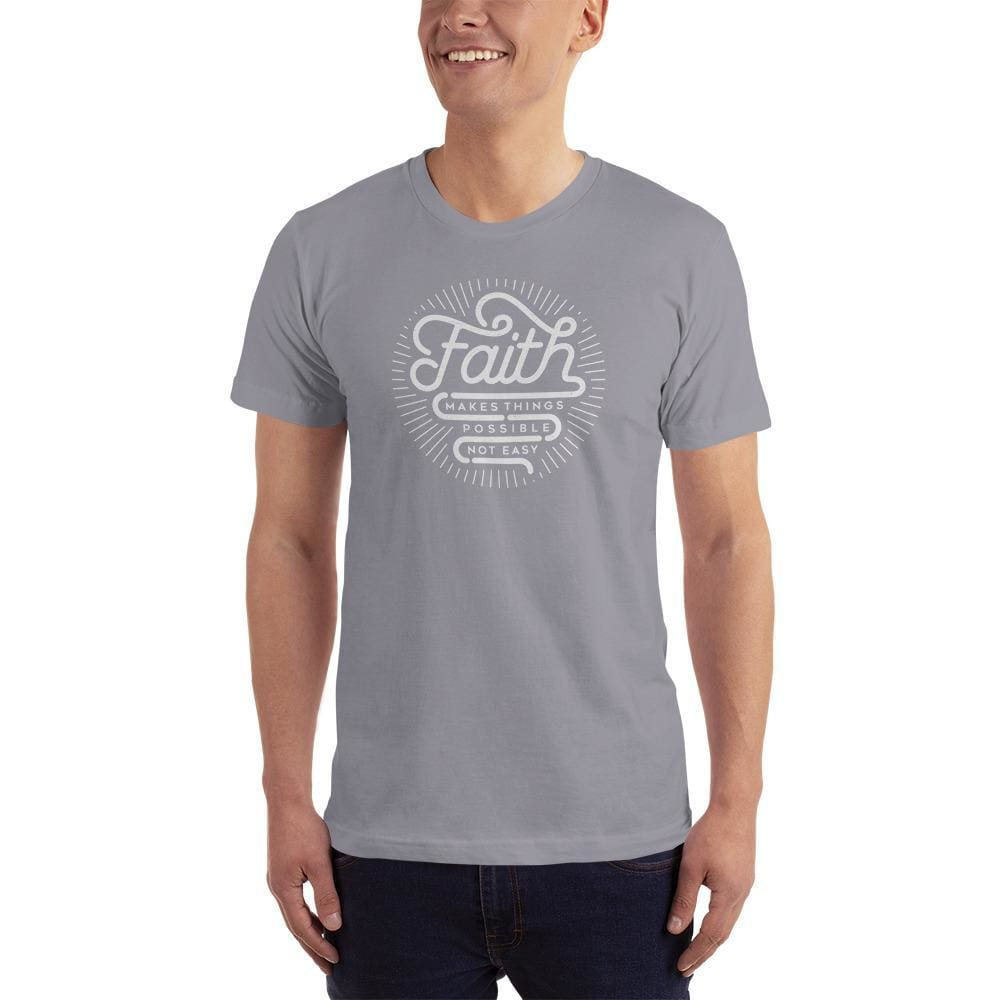 Mens Faith Makes Things Possible Not Easy Christian T-Shirt - S / Slate - T-Shirts